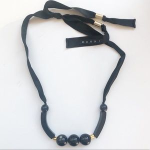 MARNI Horn/ Resin Black Beaded Statement Necklace